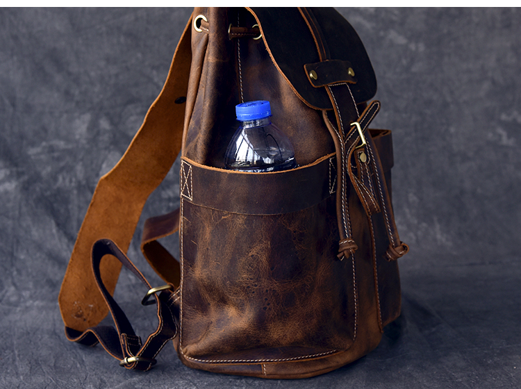 side picture of the Kyia premium leather rucksack