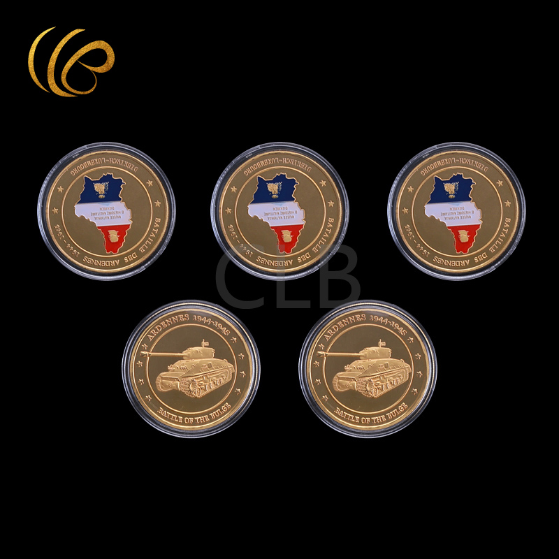 Wholesale Bataille Des Ardennes1944-1945 Gold Plated Metal Coin 24k round with Plastic Case for Home Decor.