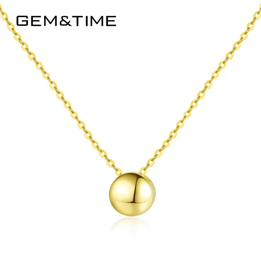 Gem&Time Pure 14K Gold Minimalism Round Pendant Necklace For Women Anniversary Daily Wear Au585 Yellow Gold Fine Jewelry N14117