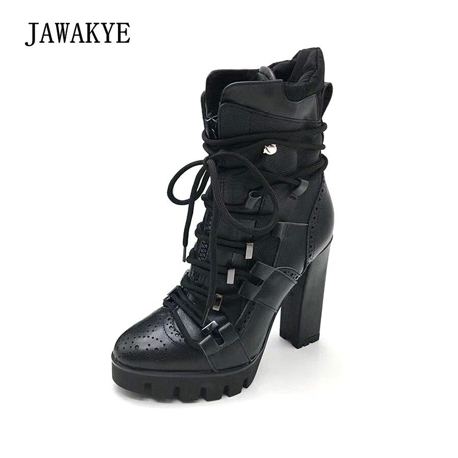 Motocicleta Plataforma Black Tobillo Botas De Punk Zapatos Para Mujeres Tacón Grueso Mujer Las Cuero Alto Negro La Jawakye TOw0E