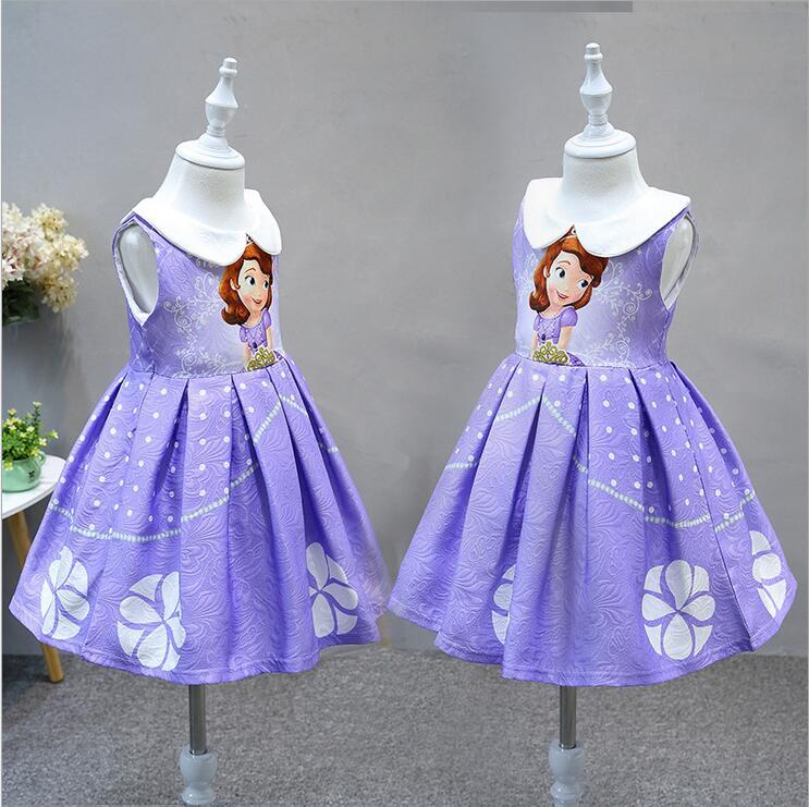 Princess Sofia Dress halloween jacquard dress Baby Girl Sophia Costume For Party ,Sofia The First Roupas Infantil Meninas платье для девочек 2015 roupas infantil meninas dress003