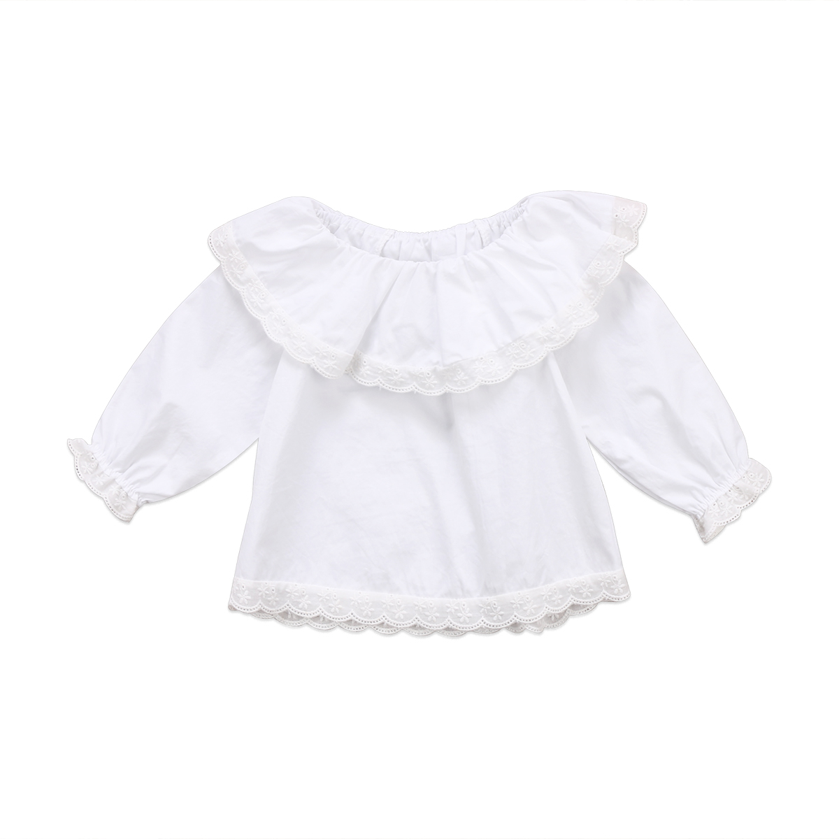 Newborn Baby Girls Lace Off Shoulder Long Sleeve Blouse Top