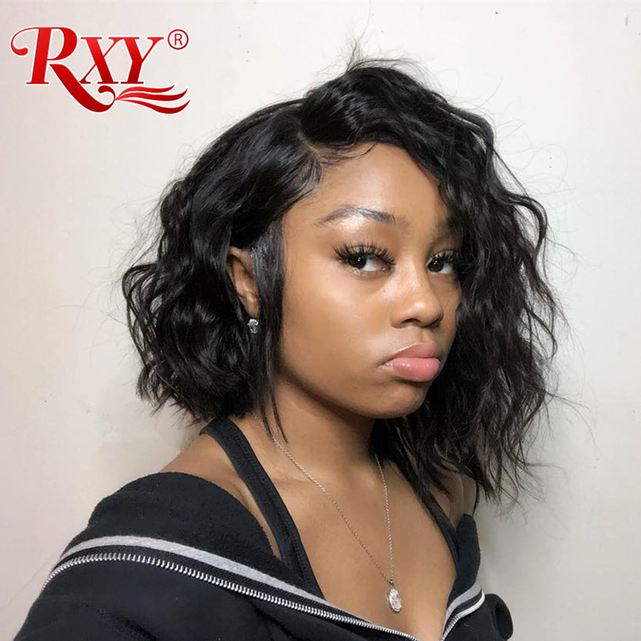 RXY Short Bob Wigs Glueless Peruvian Natural Wave Wig Remy Pre Plucked Lace Front Human Hair