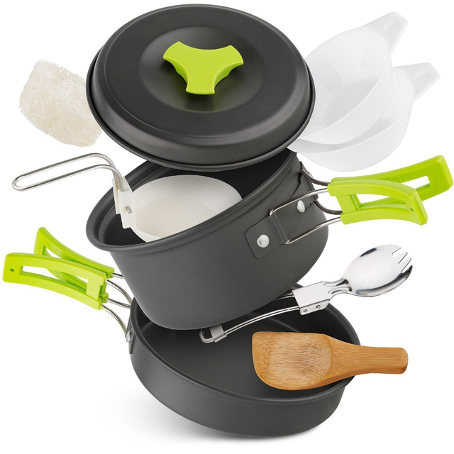 Outdoor 10pcs Camping Cookware Portable Cooking Equipment Mess Kit Bowls Backpacking Gear