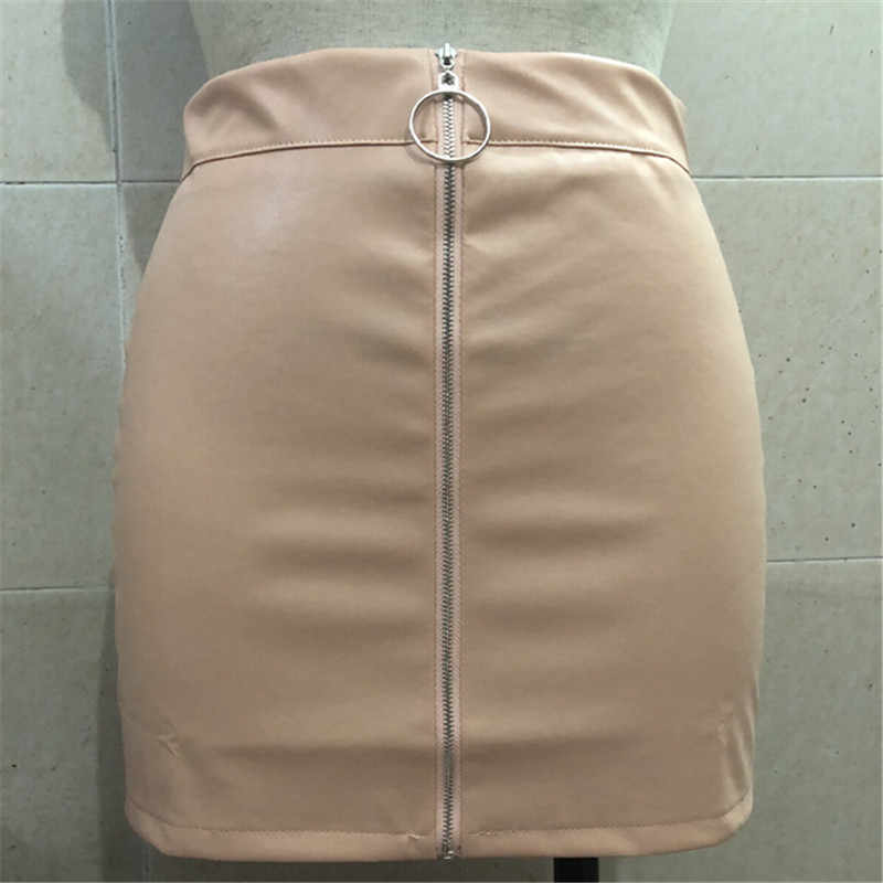 b12284da9 2018 nuevas mujeres Otoño Invierno falda ajustada de gamuza de moda de  cintura alta cremalleras bolsillos delanteros Mini falda de lápiz para ...