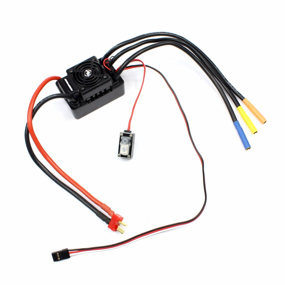 Hobbywing EZRUN WP SC8 120A Waterproof Speed Controller Brushless ESC for RC Car Short Truck with XT60 / T Type Connector wp sc8 waterproof 120a brushless esc splash water proof dust ezrun wp sc8 esc 2 in 1 multi functional professional programming