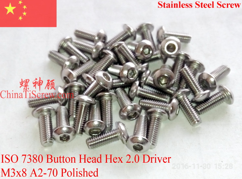 Stainless Steel screws M3x8  Button Head  ISO 7380 Hex Driver A2-70 Polished ROHS 100 pcs 50pcs lot iso 7380 m3 x 8 titanium button head hex socket screw