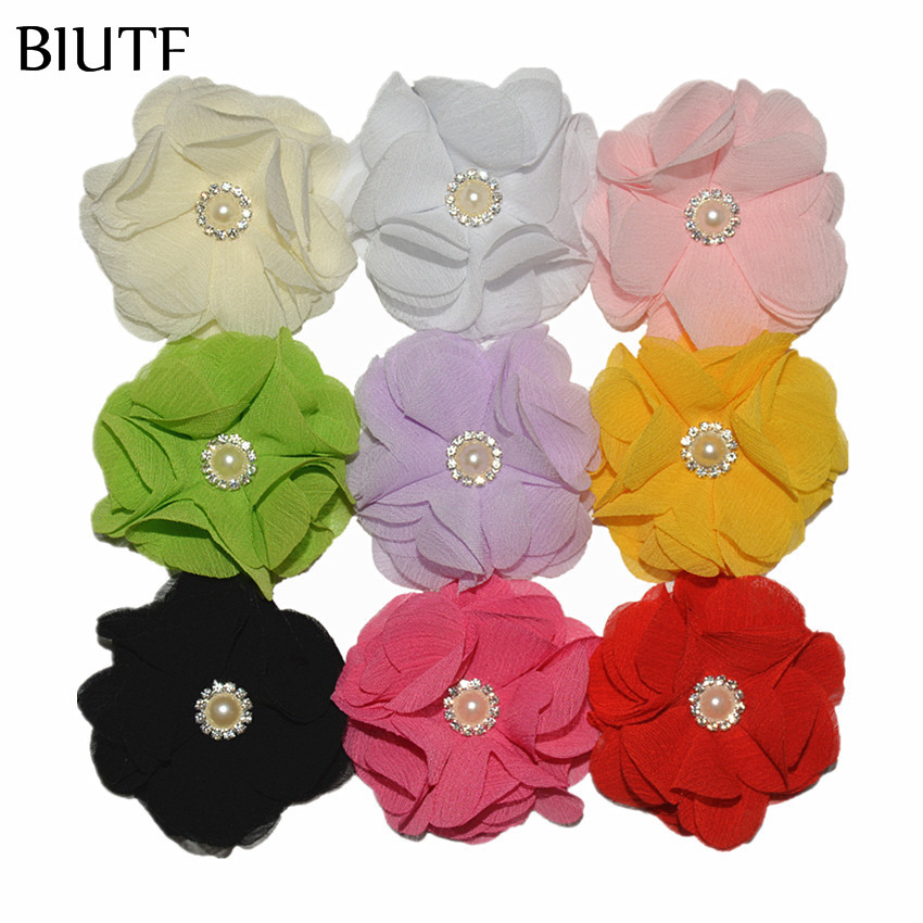 100pcs/lot 2.4 inch Chiffon Shabby Flower with Shiny Rhinestone Button Hair Accessories for Headband Hairpin Shoes Hat TH297
