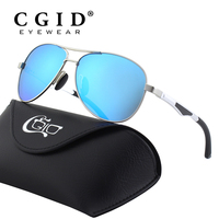 CGID Polarized Al Mg Alloy Pilot Sunglasses 100 UV400 Protection Full Mirrored Spring Hinges Sun Glasses