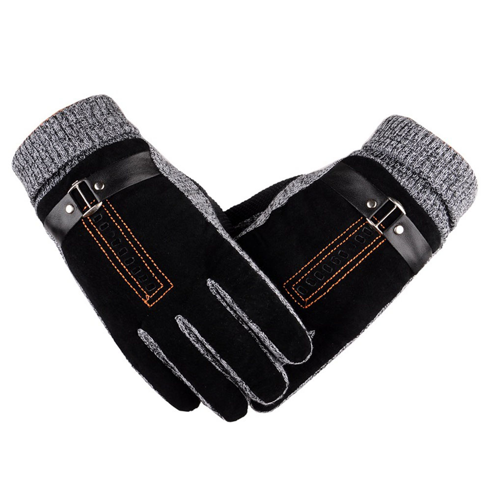 Mens Natural Suede Leather Gloves Male Winter Warm Thicken Knitted Driving Ski Mittens T ...
