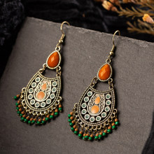 Bohemian boho acrylic beads tassel earrings for women&girls new water drop small earings jewelry korean ethnic geometric earring(China)