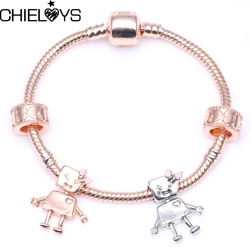 CHIELOYS Classic Rose Gold Bella Bot Charm Bracelet & Bangles For Women Fit DIY Charm Pandora Bracelet Friendship Gift Jewelry