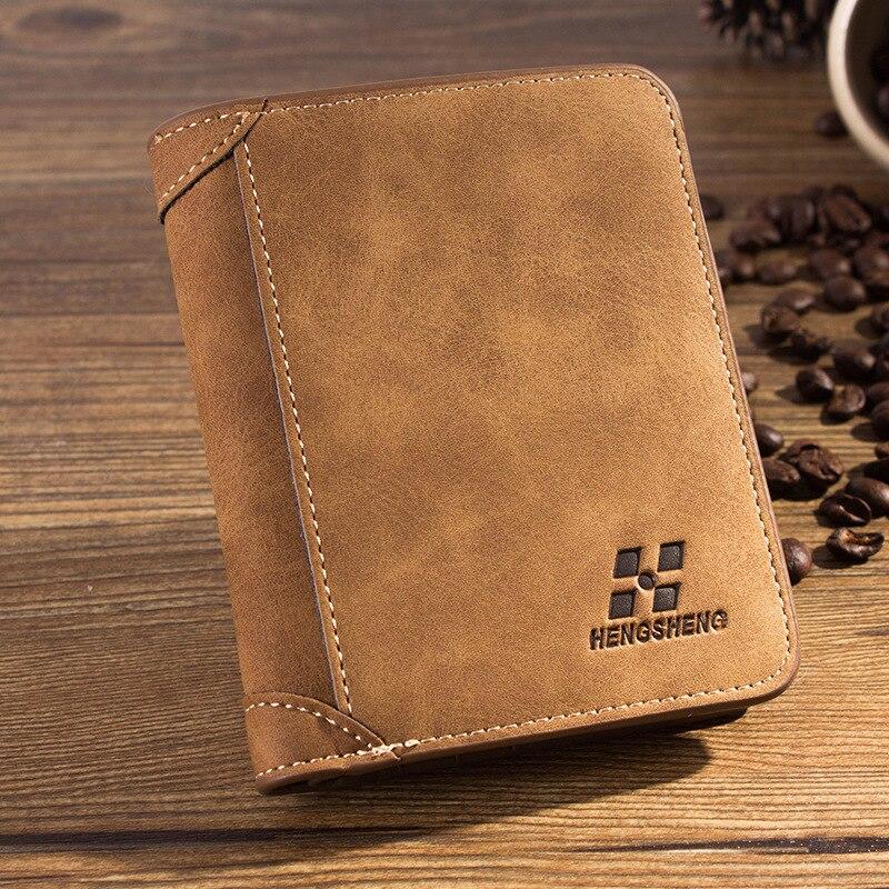 designer wallet sale n2ta  Hot Sale Men Short Style Wallets Vintage Matte Leather Money Package  Fashion Design 3 Folds Business