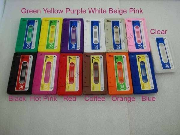 500pcs/lot Silicone Rubber Cassette Tape Cover Case for iphone 4 4G 4S
