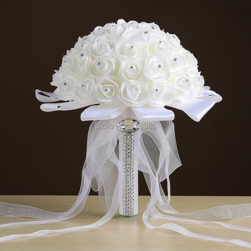 Wedding Flowers Cheap Online: Cheap White Wedding Bouquet Bridal Bridesmaid Brooch