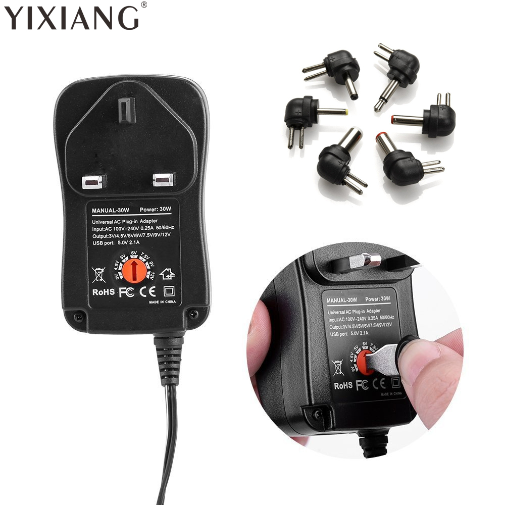 YIXIANG 100-240 V ZU 3 V, 4,5 V, 5 V, 6 V, 7,5 V, 9 V, 12 V 30 Watt Universell Einstellbar AC/DC Ladegerät Adapter Schaltnetzteil + 5 V 2.1A