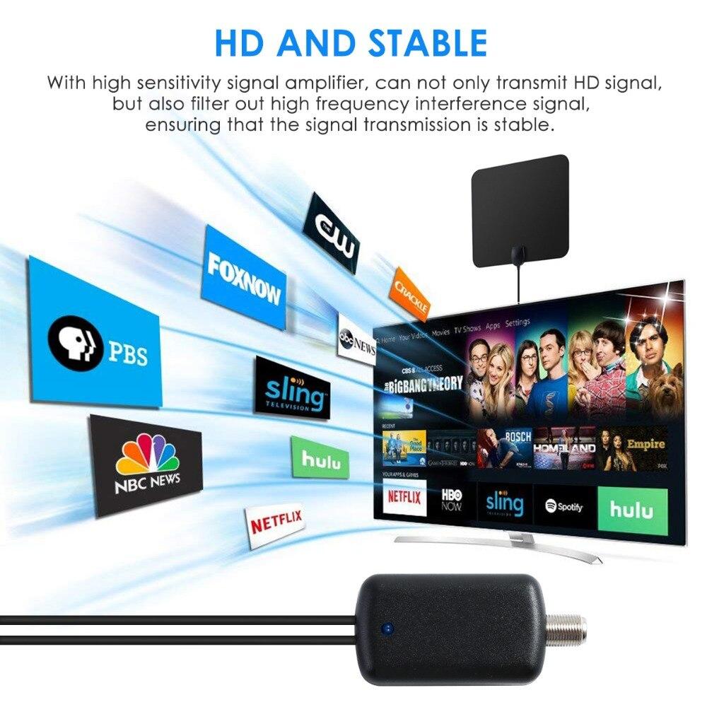 120 Miles Digital TV Antenna 25DB HDTV Antenna With Amplifier Signal Booster Radius Fox DVB-T2 Indoor satellite grid Aerial