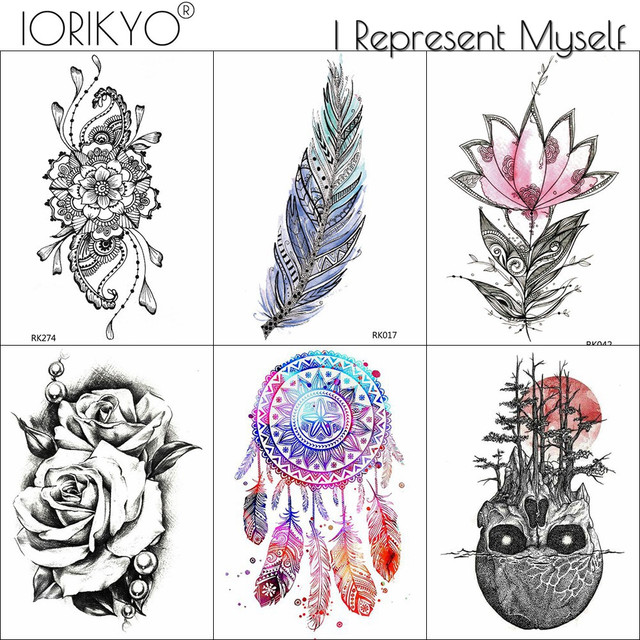 Iorikyo Watercolor Dreamcatcher Tattoo Women Chest Men Arm Skull