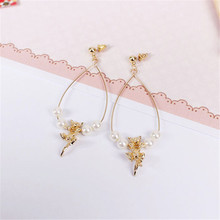 Fashion new lovely golden stereo cat star people drop pearl earrings 2016 free shipping accessories wholesale