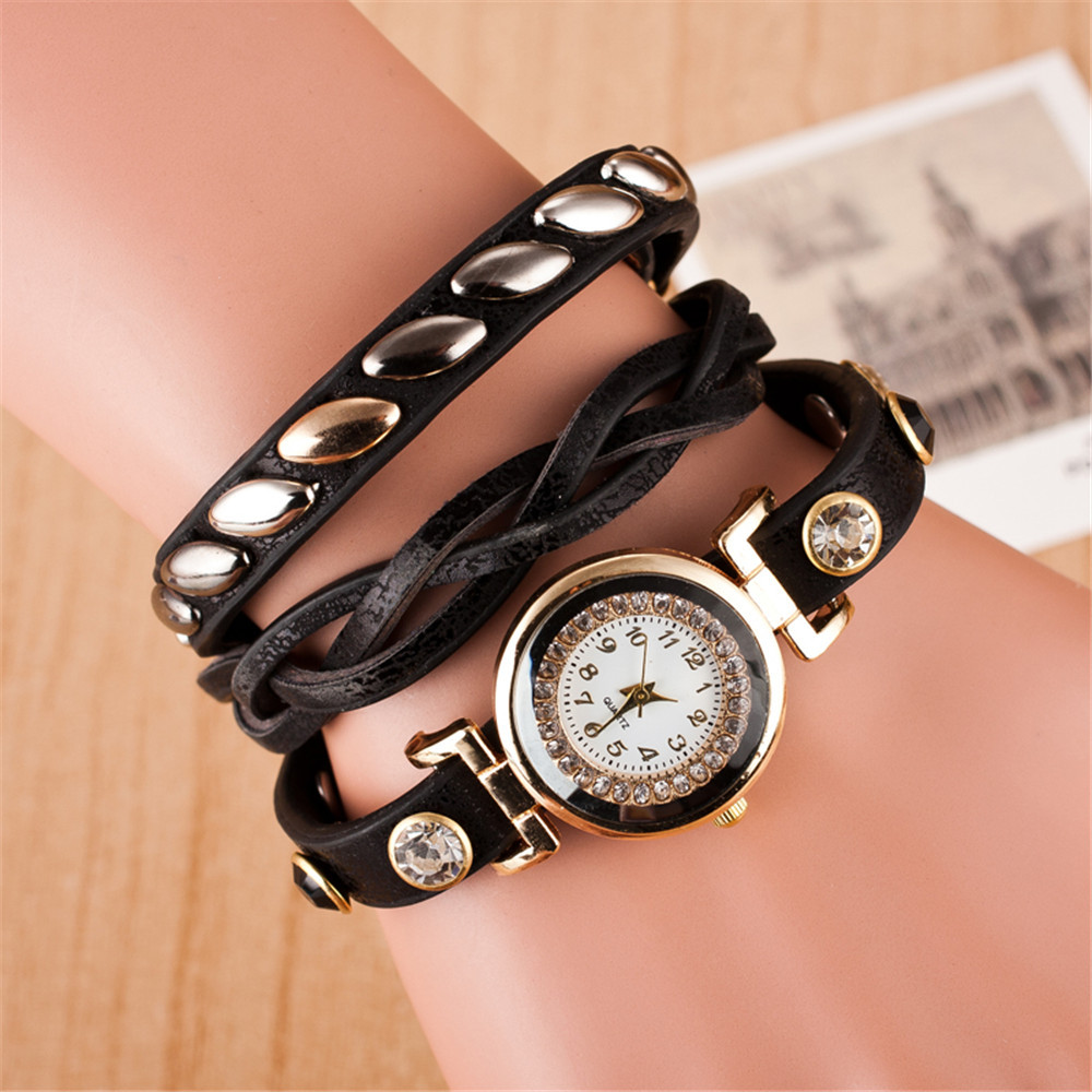 Women 39 s watches fashion gold ring with diamond rivets for Rivets for leather jewelry