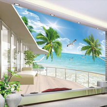 beibehang Custom Indoor Super Silky Personality 3D Wallpaper Beautiful Seascape