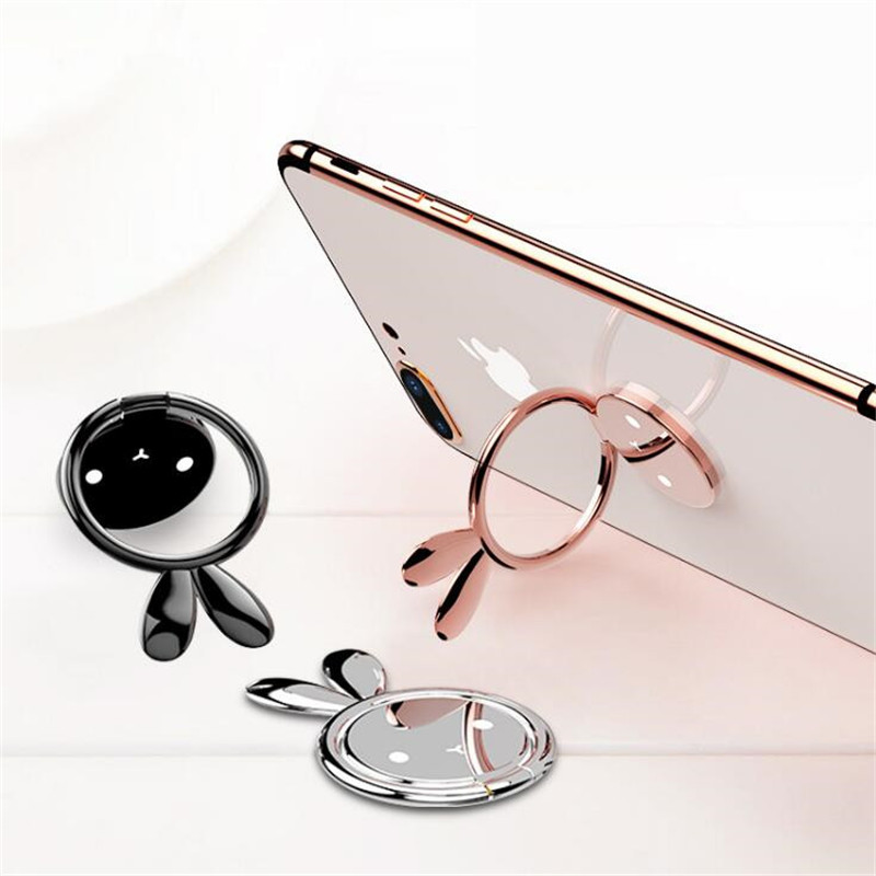 <font><b>360</b></font>-degree stand Meng Rabbit <font><b>Finger</b></font> <font><b>Ring</b></font> Phone Smar tphone Stand For iPhone X 8 7 6 5se plus Samsung Phone Stand image