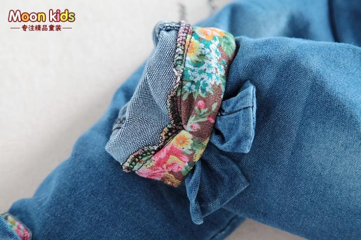 Free-shipping-spring-and-autumn-Baby-girls-bow-denim-bib-pants-infant-jumpsuit-kids-3