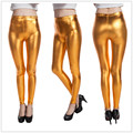 2016 New Designer Woman Gold color metal sexy Leggings lady autumn pants free size