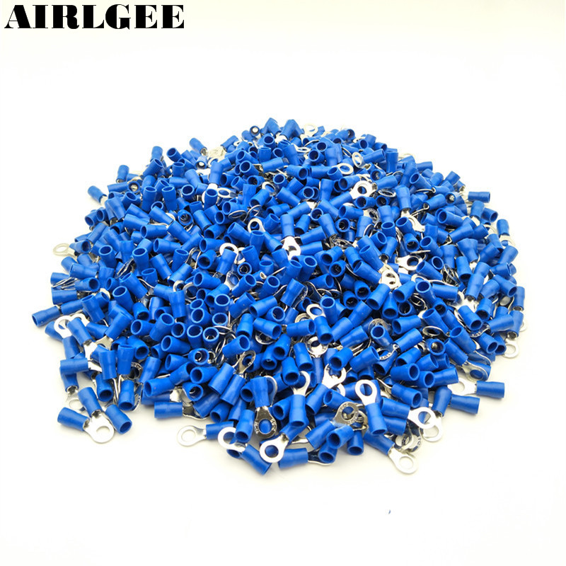 1000Pcs Blue PVC Insulated Crimp Ring Terminal Cable Lug RV2-5S for AWG 16-14 Wire #10 Stud Free shipping