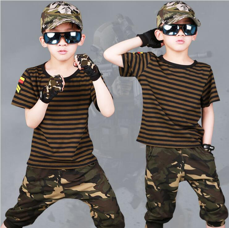 2018 Summer Boys Clothing Set Short-Sleeve Camouflage Set Children's Clothing Cotton Army Green Kids Suit For 3 4 5 6 7 8 9 10 Y summer kids clothes suit for girls 3 13 years children army green cotton shirt clothing set boys girls clothing sport suit 174b