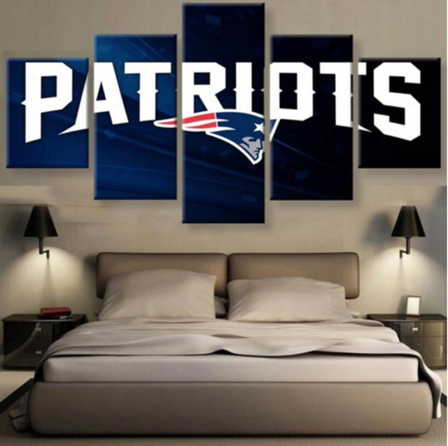 5 Pieces New England Patriots Wall Art Picture Modern Home Decoration  Living Room Or Bedroom Canvas