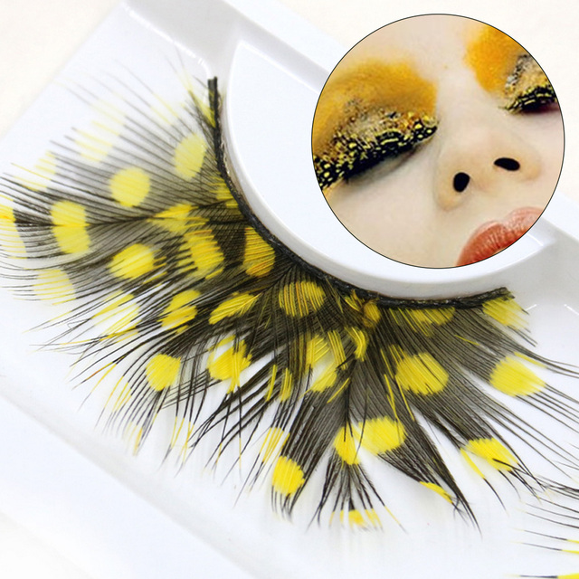 1 Pair Feather Dot False Eyelashes Party Nightclub Makeup Eye Lash Halloween Xmas Show Masquerade Natural Colorful 9 COLORS 5