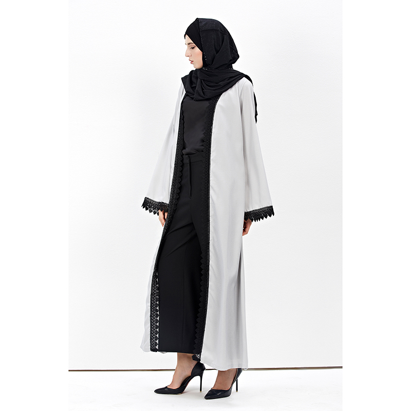049fc119fb96 Brand Islamic Lace Long Cardigan Abayas Muslim Women Dress Turkish Robe  Ramadan Dubai Sleeve Robe Kimono Thobe Prayer Clothing -in Islamic Clothing  from ...