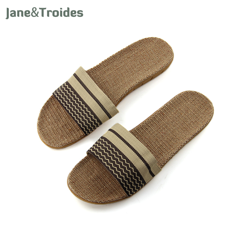 Summer Linen Striped Men Slippers Anti Slip Home Open Toe Flip Flops Patchwork Thicken Sandals Fashion Man House Shoes hot sales solid color summer men s flip flops man and female slippers eva soft sandals man s shoes flip flops zj017