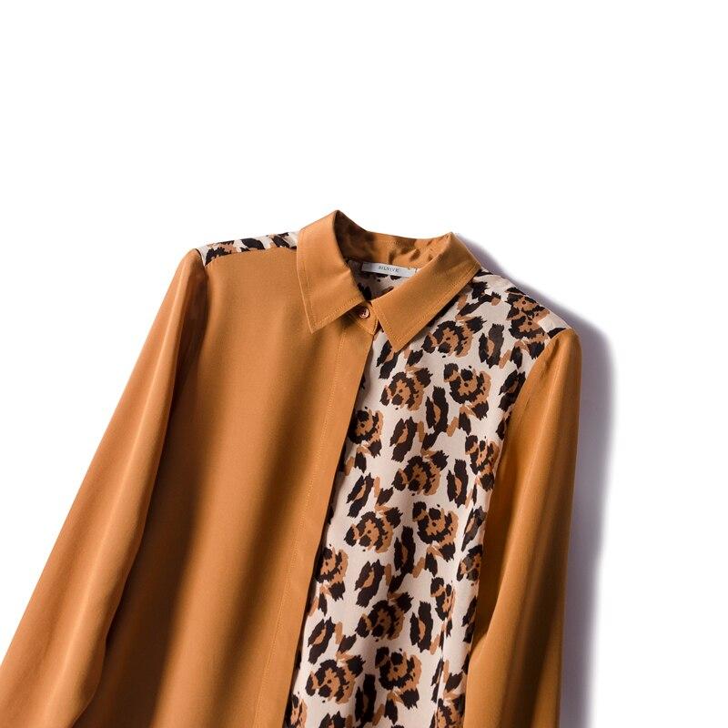 Blusa con estampado de leopardo y crepé de seda REAL de 100% para mujer, Blusa de manga larga para primavera y verano 2019, blusa para mujer - 2