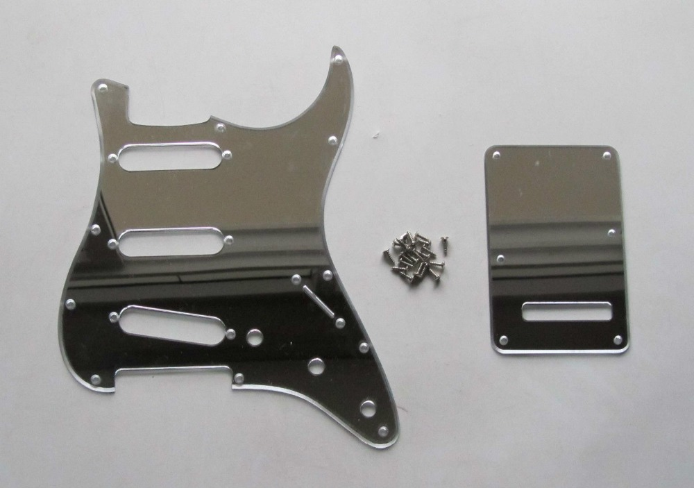 Silver Mirror SSS ST Style Guitar Pickguard Back Plate Screws musiclily 3ply pvc outline pickguard for fenderstrat st guitar custom