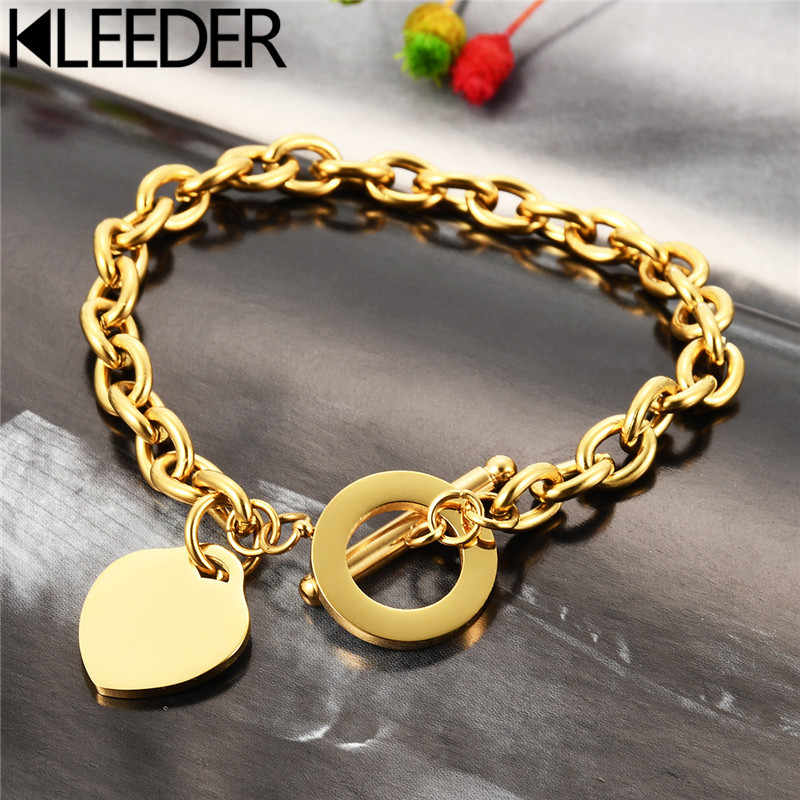 KLEEDER  Stainless Steel Love Heart Shaped Bracelet Rose Gold Silver Color Titanium Steel Bracelets for Women Jewelry