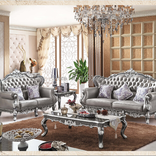 Luxury Silver Grey Oak European Style Living Room Furniture: One Genuine Leather  Sofa Set And