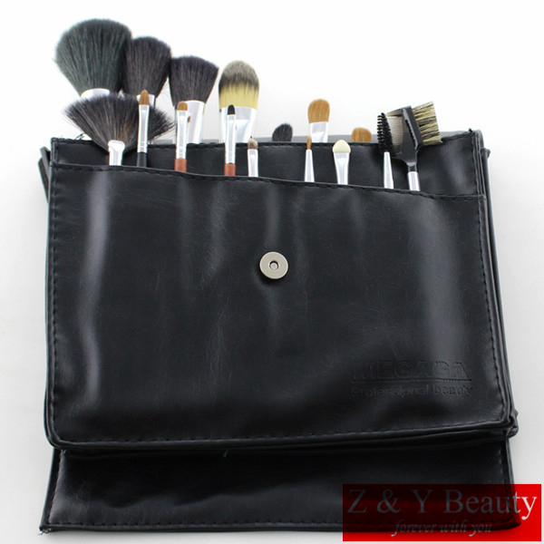 Free Shipping 18 pcs REDWOOD Handle Professional Makeup Brush Set,High Quality Goat Hair and Sable Hair with Waist Brush Bag beautiful classic hair brown and auburn lightspot fashion hair lady wig short hair high quality free shipping