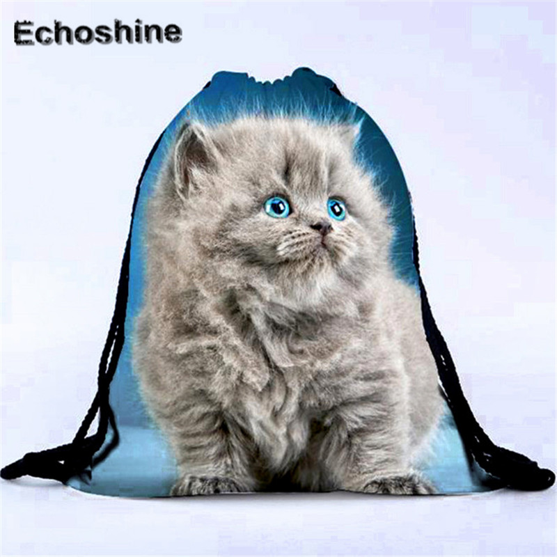 2016 New Fashion Canvas Drawstring Backpacks Unisex Cat Backpacks 3D Printing Bags School Bags Schoolbag Student Book Bag A0000