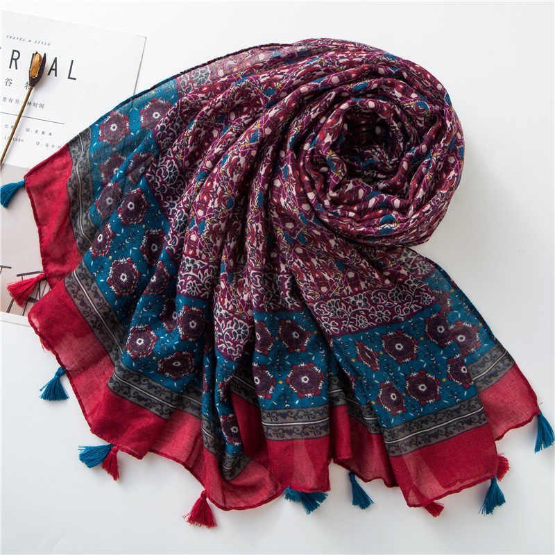 Baru Wanita Lembut Syal Warna Khusus Besar Selendang Vintage Totem Desain Cetak Foulard Panjang Viscose Hijab Modis Bungkus [3592]