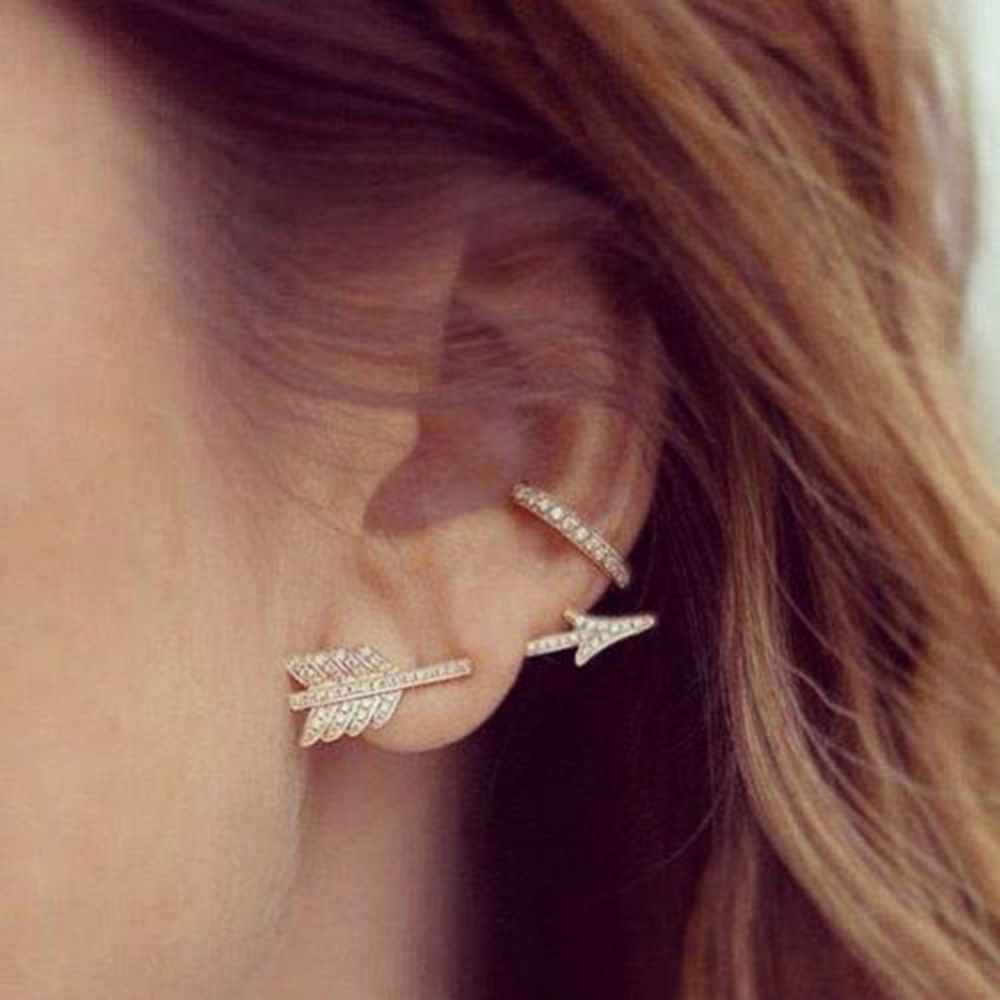 New Hot 1 Pc Women Small Arrow Stud Earrings Creative Fashion Chic Bow Arrow Crystal Ear Stud Earrings Jewelry Gift