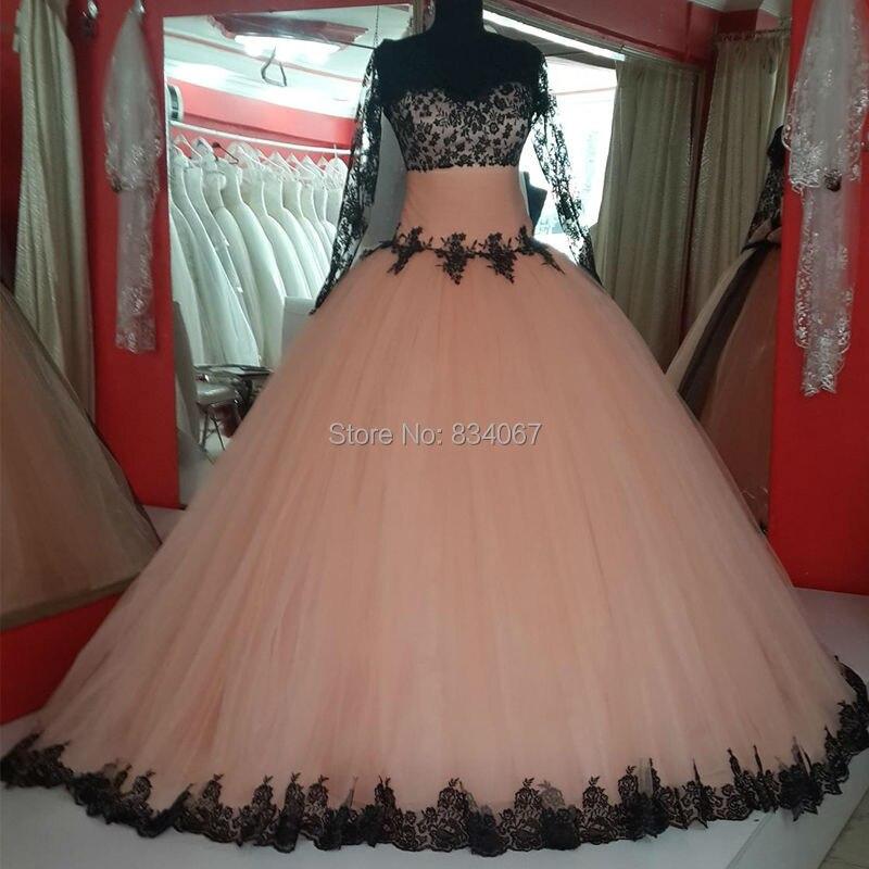Black Lace Lovely Ball Gown Prom Dresses 2017 vestido de festa Sheer ...