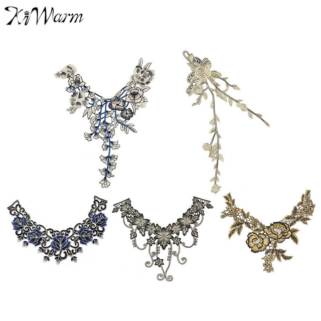 Hot Fabric Flower Lace Embellishment Applique Lace Collar Neckline Collar Patches Sewing Supplies for Women Clothes DIY Deco