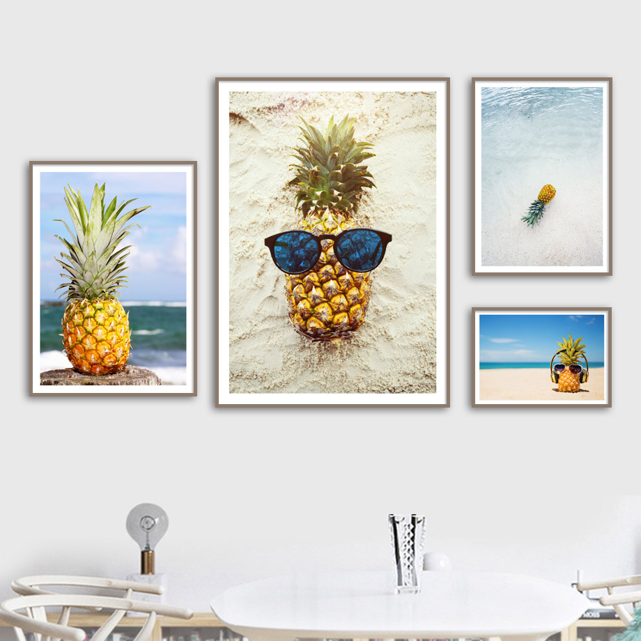 1553e9ae0dbc Pineapple Sunglasses Canvas Art Painting Nordic Posters And Prints Beach  Sea Landscape Wall Pictures For Living Room Decoration