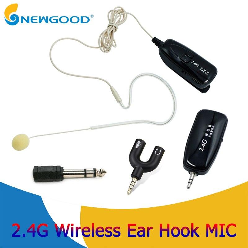 Crochet d'oreille 2.4G Microphone sans fil Lavalier micro de revers pour amplificateur de voix téléphone portable condensateur Microphone système karaoké
