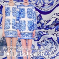 2016 Big Show With A Blue And White Porcelain Fabric Cloth Dress Coat Suit Fabric Fashion