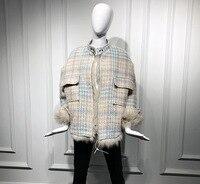 2018 женские зимние панк меховые куртки пальто брендовые Роскошные клетчатые пальто из искусственного лисьего меха пальто для женщин верхня