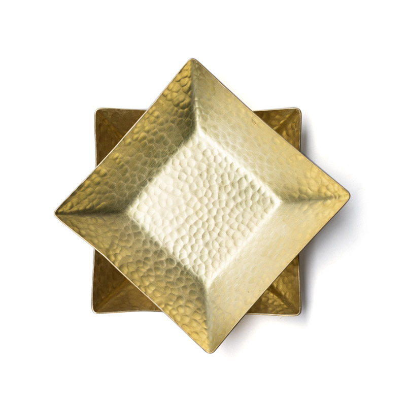 Brass Decorative Plate Square Handmade Home Luxury Art