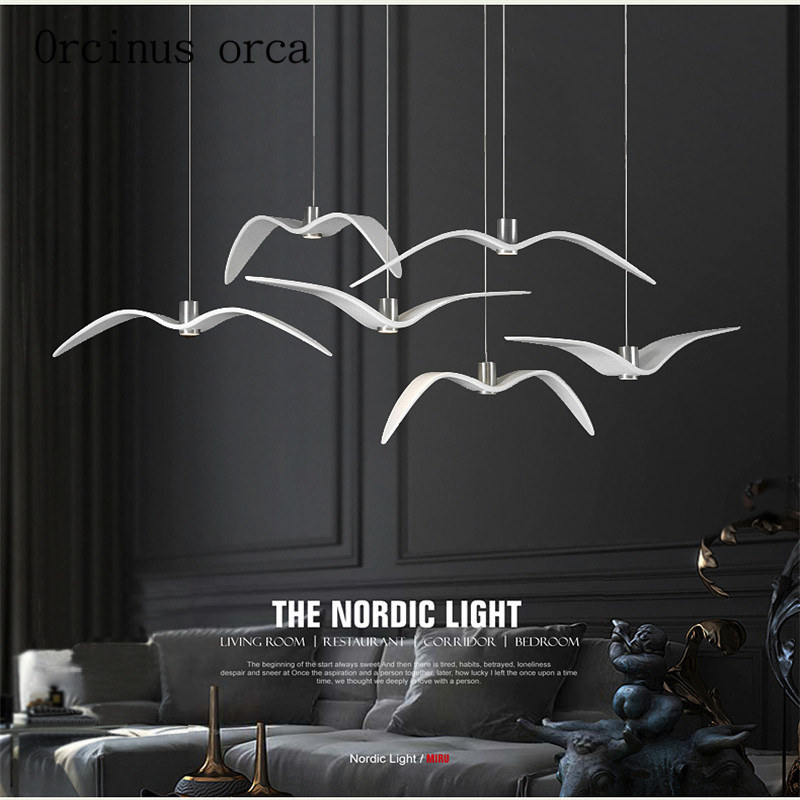 Nordic creative seagull chandelier modern minimalist fashion art bar bedroom dining room lamp Postage free